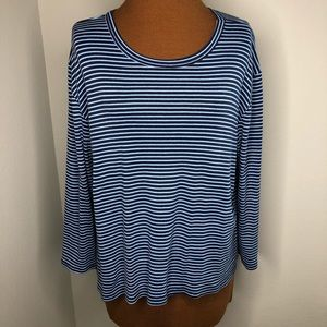 Lands End Blue Striped Long Sleeve Shirt